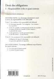 Droit des obligations t.2 ; responsabilité civile et quasi-contrats - 4ème de couverture - Format classique