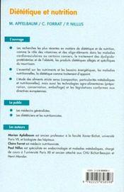 Dietetique et nutrition - 4ème de couverture - Format classique