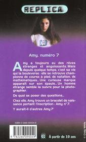 Replica T.1 ; Amy Numero 7 - 4ème de couverture - Format classique
