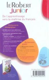 Dictionnaire Le Robert junior - 4ème de couverture - Format classique