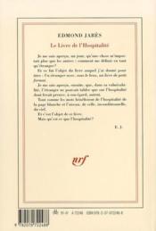 Le livre de l'hospitalité - 4ème de couverture - Format classique