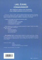 Lire Ecrire Communiquer ; Methode D'Apprentissage De La Lecture Et De L'Ecriture Pour Les Adultes - 4ème de couverture - Format classique
