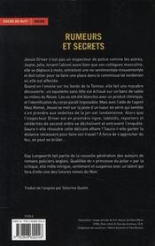 Rumeurs et secrets - 4ème de couverture - Format classique