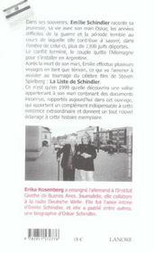 Emilie Schindler - 4ème de couverture - Format classique