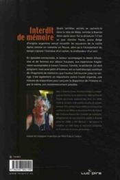 Interdit de mémoire ; trente ans après la dictature Argentine ; le roman d'un exil - 4ème de couverture - Format classique