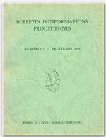Bulletin D'Informations Proustiennes T.21 - Couverture - Format classique