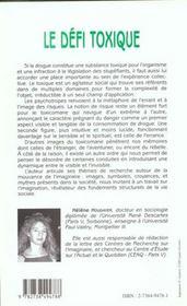 Le Defi Toxique ; Conduites A Risque Et Figures De L'Exil - 4ème de couverture - Format classique