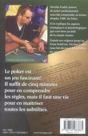 Le poker ; de texas hold'em au stud - 4ème de couverture - Format classique
