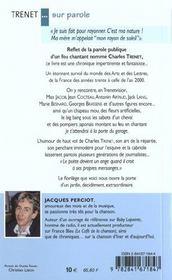 Charles Trenet ... Sur Parole - 4ème de couverture - Format classique