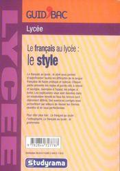 Francais Au Lycee : Le Style (Le) - 4ème de couverture - Format classique