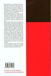 Metropolisation et develo - 4ème de couverture - Format classique