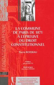 La commune de paris de 1871 a l'epreuve du droit constitutionnel - Intérieur - Format classique