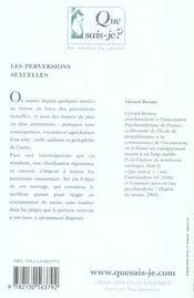 Les perversions sexuelles - 4ème de couverture - Format classique