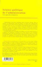Science Politique De L'Administration - 4ème de couverture - Format classique