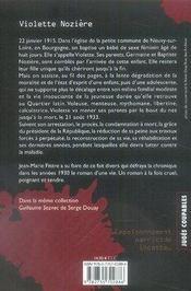 Violette nozière - 4ème de couverture - Format classique