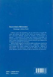 Frontieres-Memoires. Hommage A Adrien Finck - 4ème de couverture - Format classique