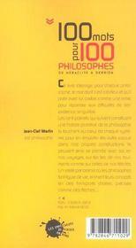Cent mots pour cent philosophes - 4ème de couverture - Format classique