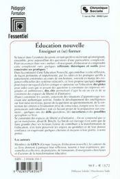 Education Nouvelle - 4ème de couverture - Format classique