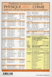Problemes corriges de physique et de chimie poses aux mines albi ales douai nantes enac t.8 2005-2007 - 4ème de couverture - Format classique