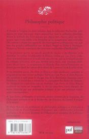 Philosophie politique - 4ème de couverture - Format classique