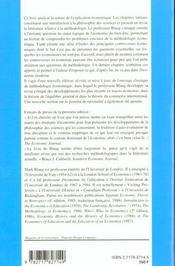 La Methodologie Economique - 4ème de couverture - Format classique