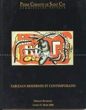 TABLEAUX MODERNES ET CONTEMPORAINS. [ DEUTSCH. COUTURE. DOMERGUE. RODIN. TROUBETZKOY. VUILLARD. LEBASQUE. DEGAS. VALTAT. PICASSO. BRYEN. SCHNEIDER. FEITO. TAL COAT. ARMAN. CESAR. ERRO. DE KOONING ]. 13/03/2000. (Poids de 434 grammes) - Intérieur - Format classique