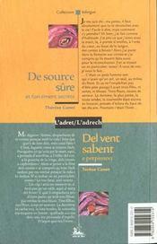 De Source Sure Et Forcement Secrete ; Del Vent Sabent E Perpinson - 4ème de couverture - Format classique