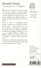 Chroniques de la Régence - 4ème de couverture - Format classique
