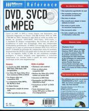 Dvd Svcd Et Mpeg - 4ème de couverture - Format classique