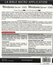 Windows Server 2003 et Windows Server 2008 t.1 ; la bible - 4ème de couverture - Format classique