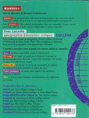 Geographie College - 4ème de couverture - Format classique