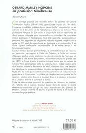 Gerard Manley Hopkins ; La Profusion Tenebreuse - 4ème de couverture - Format classique