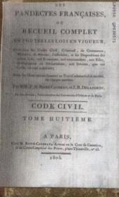 Les pandectes françaises ou recueil complet de toutes les lois en vigueur, tome 8 - Couverture - Format classique