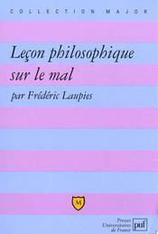 Leçon philosophique sur le mal - Intérieur - Format classique