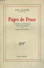 Pages De Prose. - Couverture - Format classique