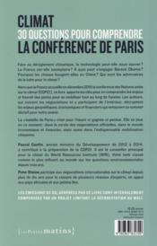 Climat ; 30 questions pour comprendre la conférence de Paris - 4ème de couverture - Format classique