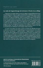 Reperes, n 35/2007. les rates de l'apprentissage de la lecture a l'e cole et au college - 4ème de couverture - Format classique