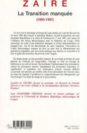 Zaïre ; la transition manquée 1990-1997 - 4ème de couverture - Format classique