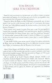 Ton Epoux Sera Ton Createur - 4ème de couverture - Format classique