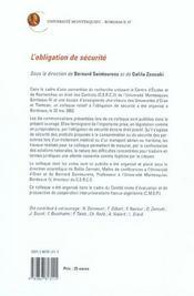 Obligation De Securite - 4ème de couverture - Format classique