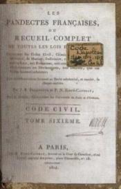 Les pandectes françaises ou recueil complet de toutes les lois en vigueur, tome 6 - Couverture - Format classique