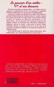 Le Pouvoir D'Un Media : Tf1 Et Son Discours - 4ème de couverture - Format classique