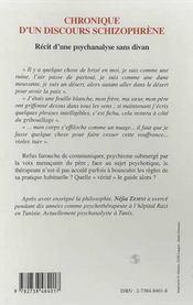 Chronique D'Un Discours Schizophrene ; Recit D'Une Psychanalyse Sans Divan - 4ème de couverture - Format classique