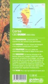 Geoguide ; Corse (Edition 2003/2004) - 4ème de couverture - Format classique
