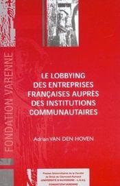 Le lobbying des entreprises francaises aupres des institutions communautaires - Intérieur - Format classique