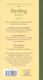 Riesling Alsace - 4ème de couverture - Format classique