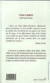 Vers Libres, Anthologie Poetique - 4ème de couverture - Format classique