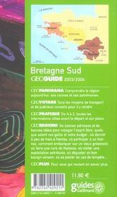 Geoguide ; Bretagne Sud (Edition 2003/2004) - 4ème de couverture - Format classique