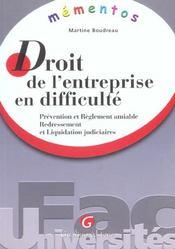 Memento - droit de l'entreprise en difficulte - Intérieur - Format classique