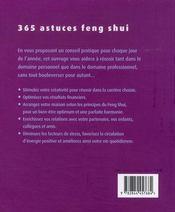 365 astuces feng shui - 4ème de couverture - Format classique